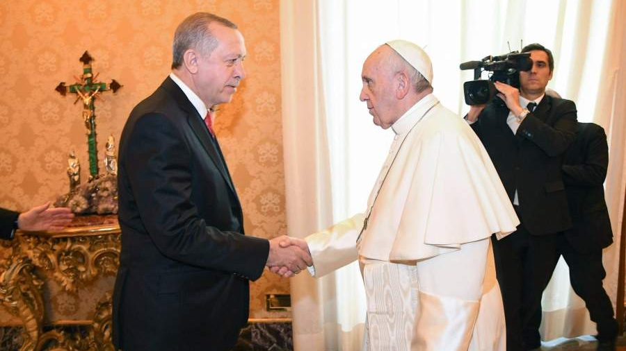 Pope meets turkish dictator to denounce islamophobia while turkish ap m4hsunfo
