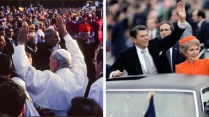 (L) Pope John Paul II (1920 - 2005) waves as he stands among a crowd, Warsaw, Poland, early June, 1979. (R) President and Mrs. Ronald Reagan wave to the crowd waiting along the Inaugural parade route to see them, as they take the traditional ride down Pennsylvania Avenue. January 20, 1981.