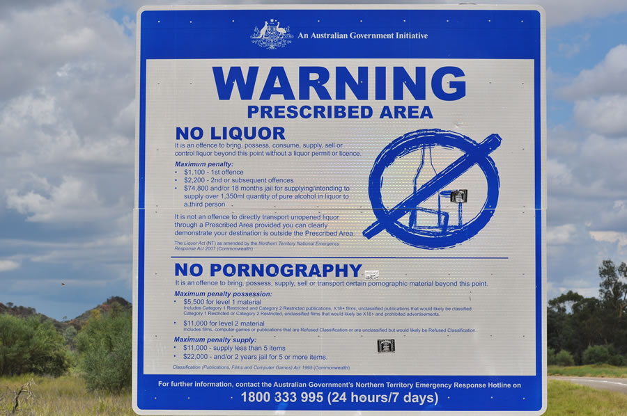 Alcochol and Pornography Ban Warning sign at an Aboriginal community near Alice Springs, in the Northern Territory.