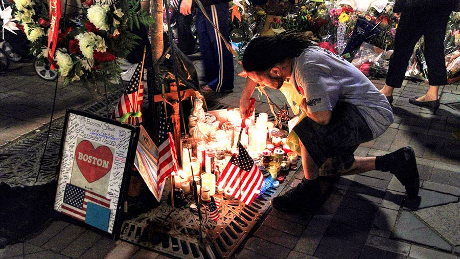 Remembering the victims of the Boston Marathon bombings in Copley Square of Boston, Massachusetts. 30 July 2013
