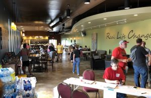 Ridge Church Dining, Talking, Relaxing in the shelter after the Dayton area tornadoes