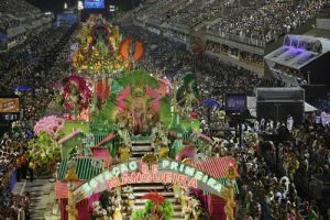 Parade of Mangueira, one of the samba schools in the Rio Mardi Gras Carnival