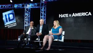 'Hate In America' Host Tony Harris, Founder, Southern Poverty Law Center, Morris Dee and Intelligence Project Director, Southern Poverty Law Center, Heidi Beirich of 'Hate In America' speak onstage during the Discovery Communications TCA Winter 2016 at The Langham Huntington Hotel and Spa on January 7, 2016 in Pasadena, California.