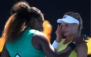 United States' Serena Williams consoles Ukraine's Dayana Yastremska after winning their third round match at the Australian Open tennis championships in Melbourne, Australia, Saturday, Jan.</body></html>