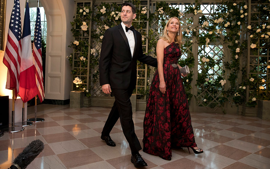 Speaker of the House Paul Ryan and his wife Janna arrive at the White House