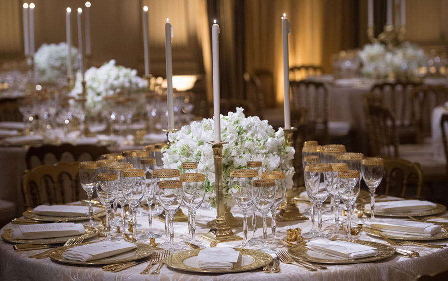 The State Dining Room table setting laid out for the State Dinner in honor of France.