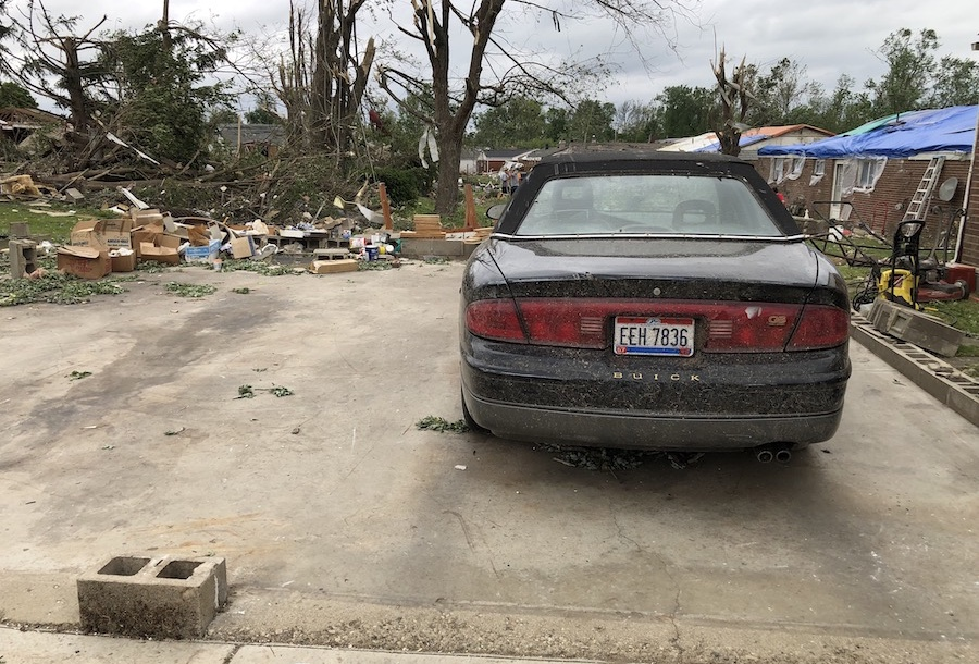 The three-car garage that wasn't there, after the Dayton area tornadoes