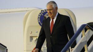 Secretary of State Rex Tillerson steps off his plane as he arrives at King Salman Air Base, Saturday, Oct. 21, 2017, in Riyadh, Saudi Arabia.