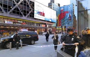 Police secure Eighth Avenue outside the Port Authority Bus Terminal following an explosion near New York's Times Square on Monday, Dec. 11, 2017. Police said a man with a pipe bomb strapped to him set off the crude device in an underground passageway under 42nd Street between Seventh and Eighth Avenues.