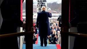 WASHINGTON, DC - JANUARY 20: U.S. President Donald Trump arrives on the West Front of the U.S. Capitol on January 20, 2017 in Washington, DC. In today's inauguration ceremony Donald J. Trump becomes the 45th president of the United States.