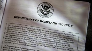 Proposals for the Homeland Security Department in President Donald Trump's first budget are displayed at the Government Printing Office in Washington, Thursday, March, 16, 2017.