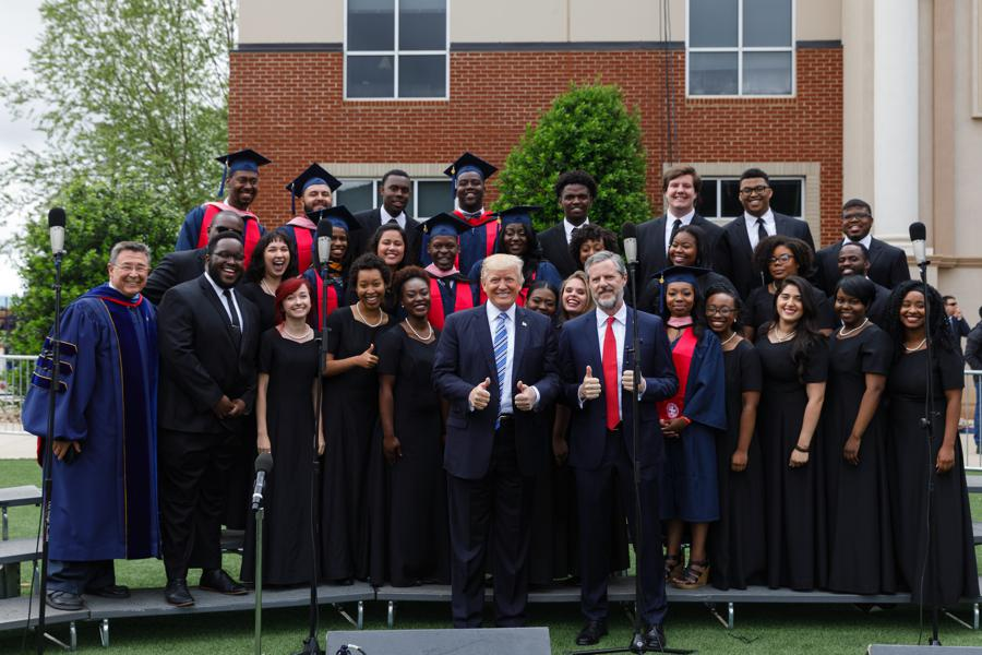 Trump with LU Praise liberty commencement- 900