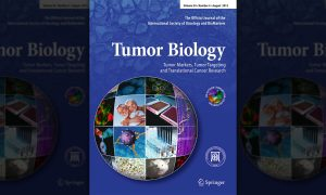 The cover of Tumor Biology's 34th volume, released in August of 2013.