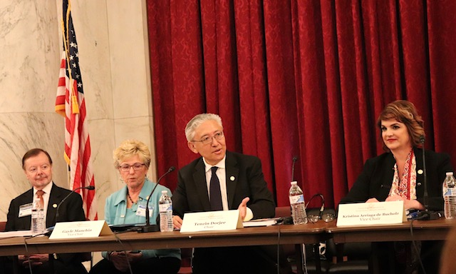 On April 29, 2019, members of the U.S. Commission on International Religious Freedom (USCIRF) present the findings of their 2019 Annual Report at a Capitol Hill event. L-R: Gary Bauer, Vice Chair Gayle Manchin, Chair Tenzin Dorjee, Vice Chair Kristina Arriaga.