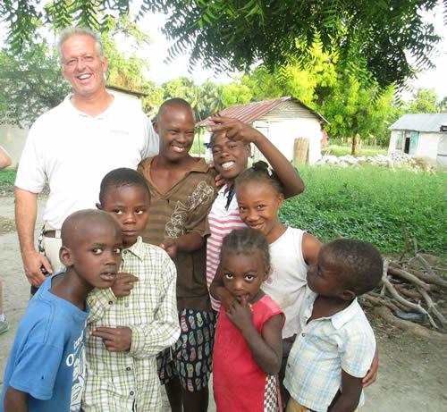 Dr. David Vanderpool with Haitian children.