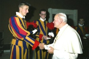 Andreas Widmer (left) with Pope John Paul II