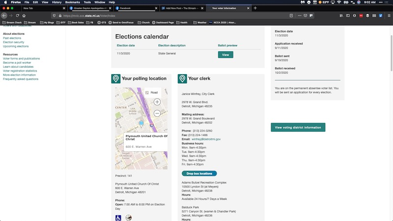William Bradley Voter Record, Screenshot Taken 9:02 am on November 9