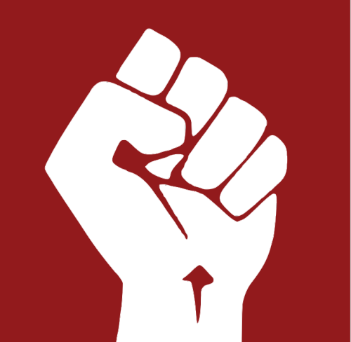 clenched fist on red background