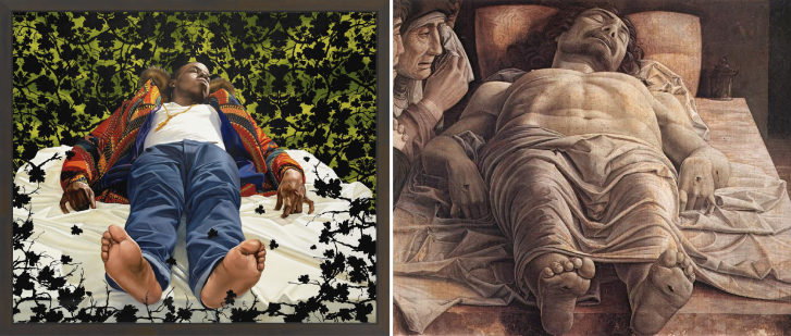 Left: Kehinde Wiley. Lamentation of the Dead Christ (2008). Right: Andrea Mantegna. Lamentation of the Dead Christ (c.1480).