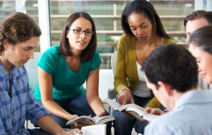 Millennial Christians holding small group Bible study