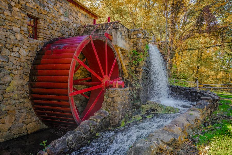 Colonial Grist Mill inSudbury, MA. New England