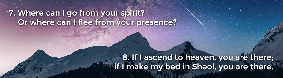 7 Where can I go from your spirit? Or where can I flee from your presence? 8 If I ascend to heaven, you are there; if I make my bed in Sheol, you are there.